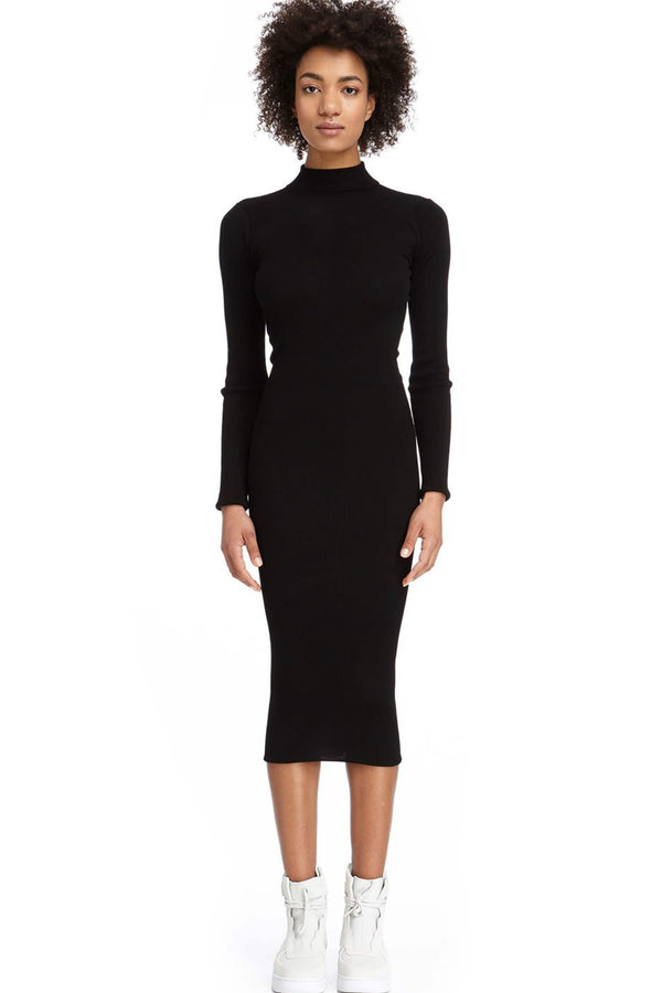 DSTM Chiron wool, silk and cashmere blend black long sleeve turtleneck dress, front view, on model
