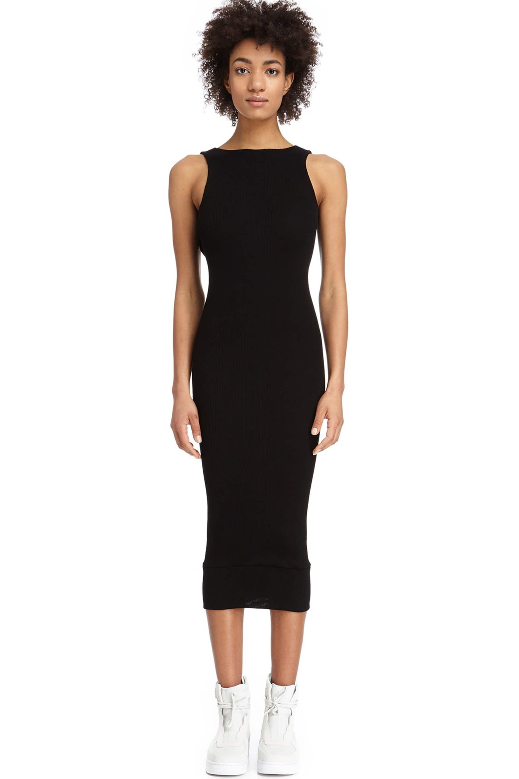 DSTM Chiron wool, silk and cashmere blend reversible sleeveless tank/low back dress in black, front view, shown on model