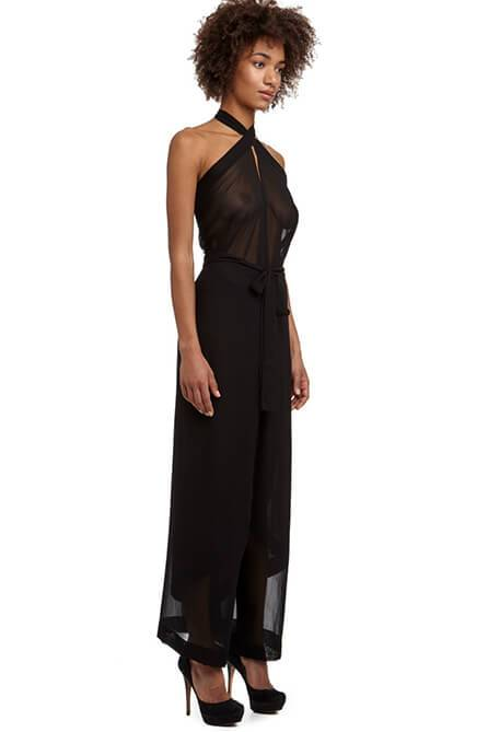 DSTM Hishi Jumpsuit and Wrap Pant in sheer black silk