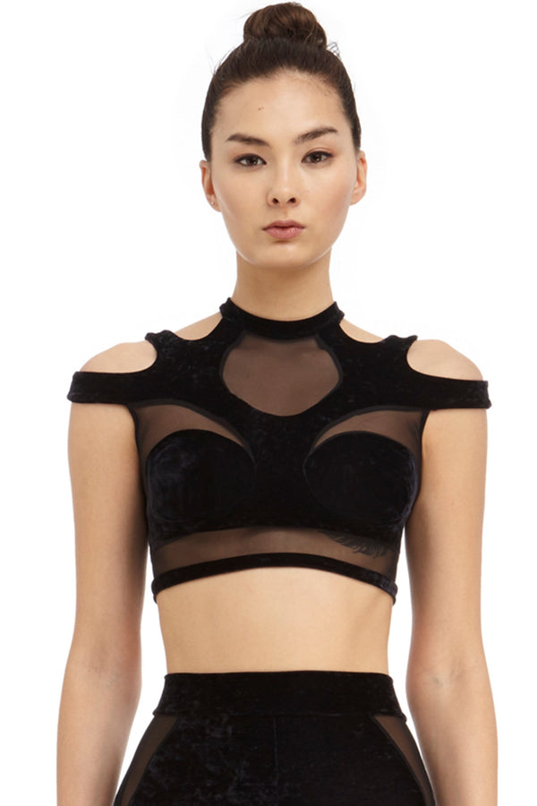 DSTM Solta black velvet crop top bra