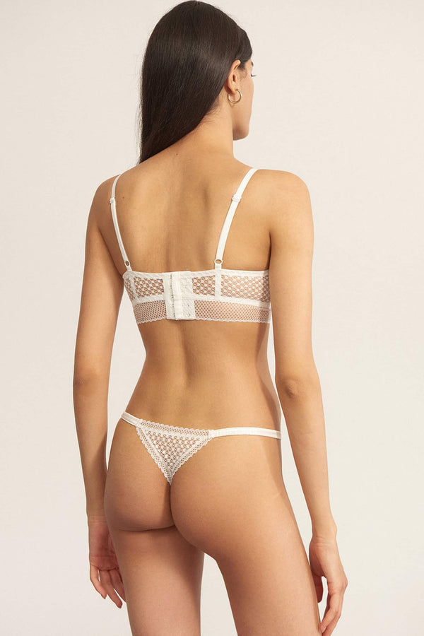 Else Bella white lace and silk sheer thong, back view, shown on model also wearing matching bralette