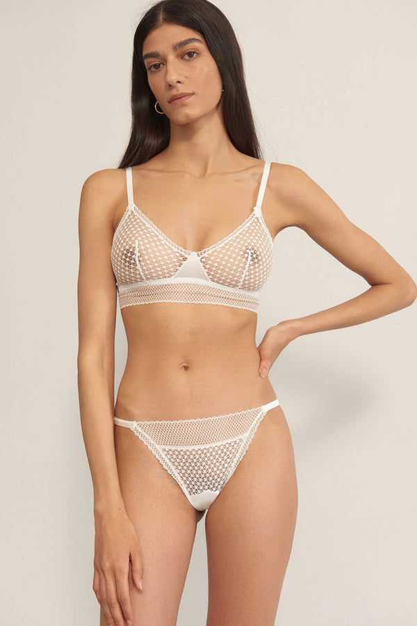 Else Bella white lace and silk sheer wireless bralette, front view, shown on model also wearing matching thong