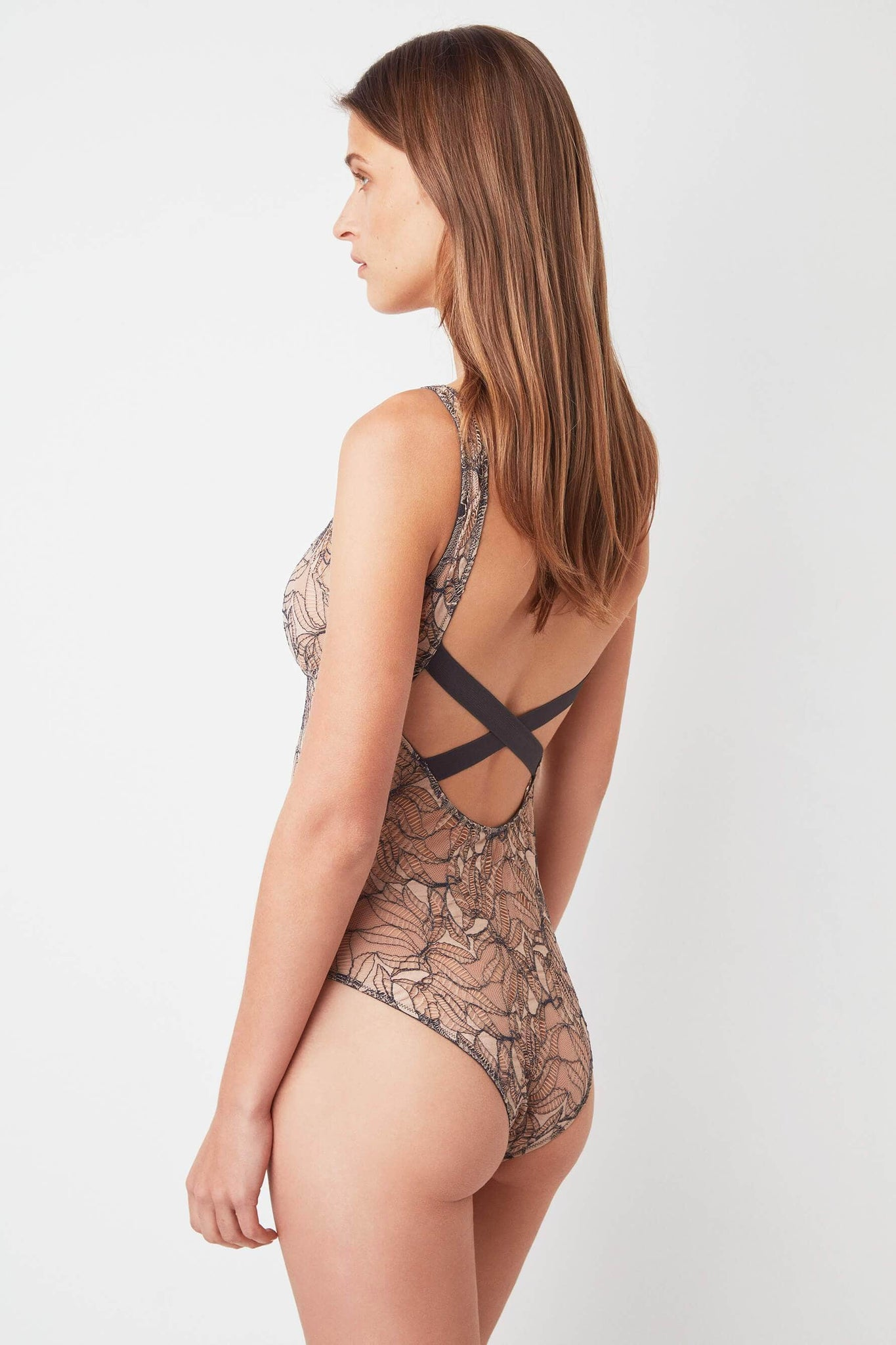 Powder/Slate Bohemian Lace Bodysuit from Else