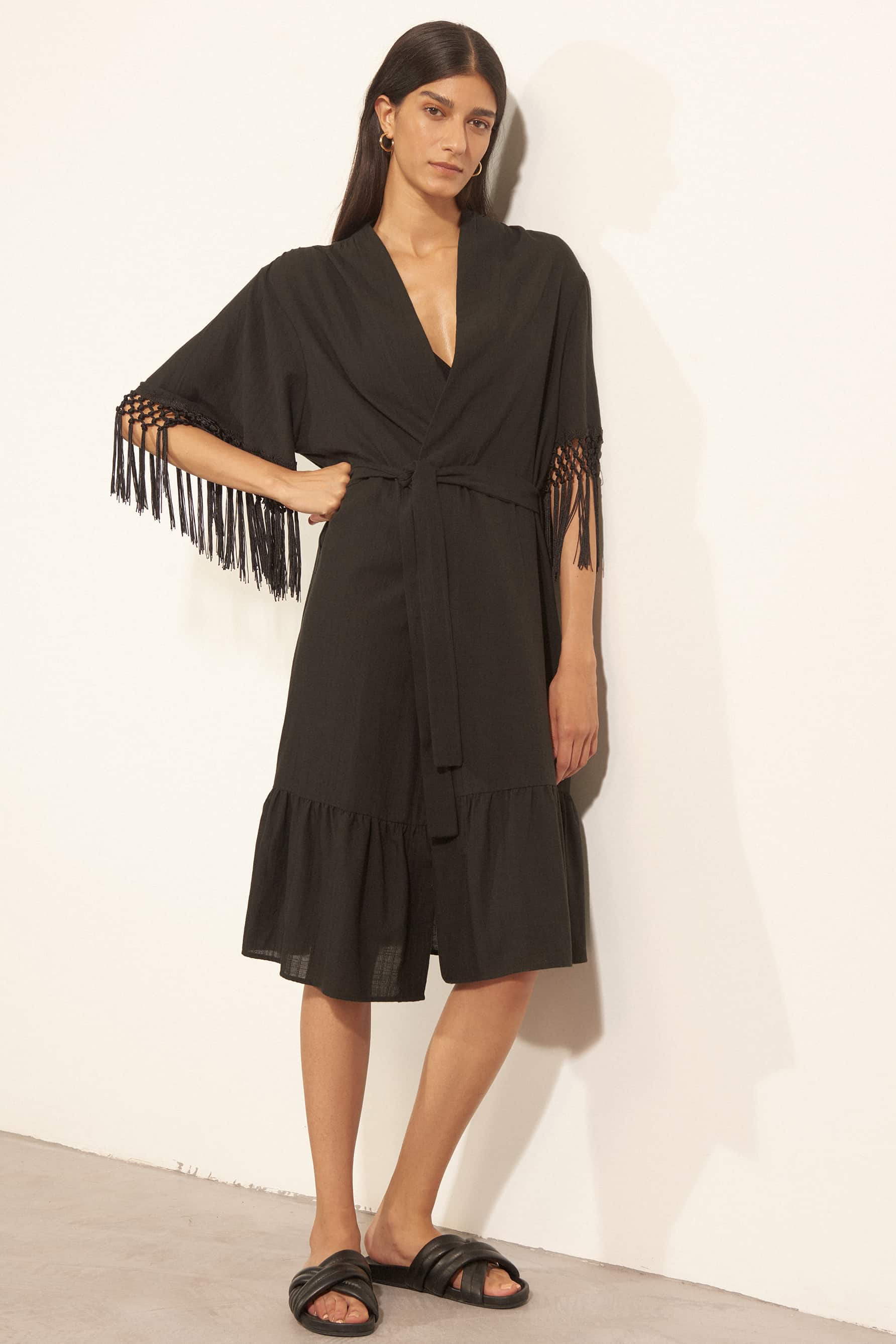 Else Cabo Robe/Coverup in black cotton with fringe sleeves, front view on model