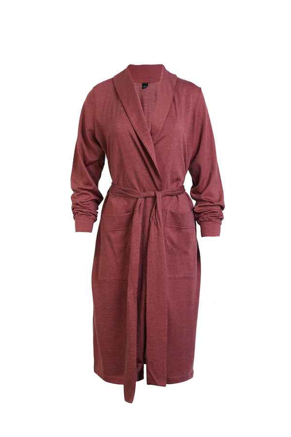 Else Ella Wool Blend Lounge Robe in brick red, front view, on plain white background
