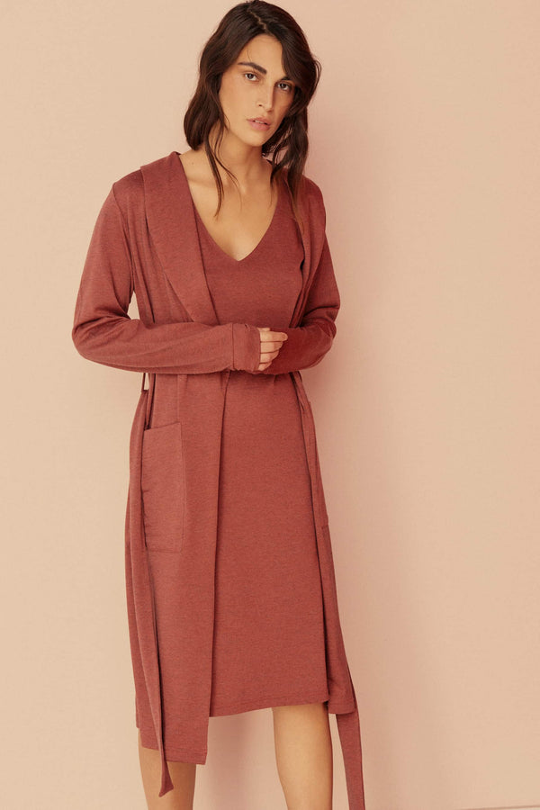 Else Ella Wool Blend Lounge Robe in brick red, front view, on model also wearing the matching slip dress/nightgown