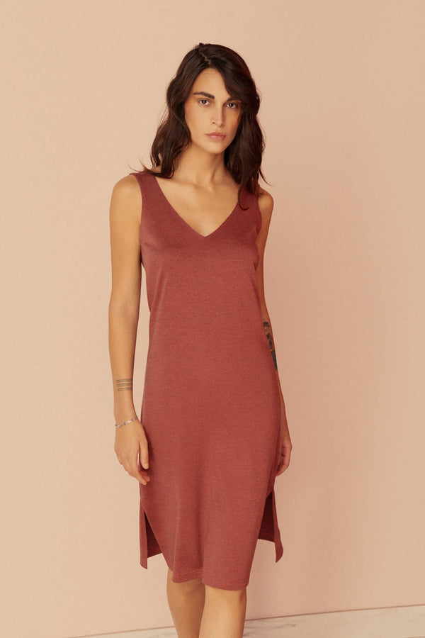 Else Ella wool blend slip dress / nightgown in brick red, front view, shown on model