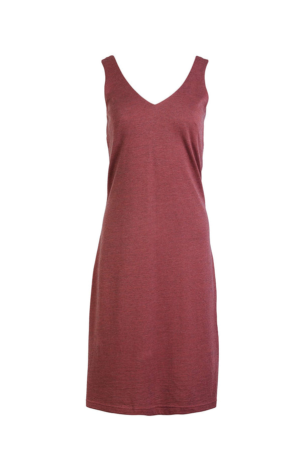 Else Ella wool blend slip dress / nightgown in brick red, front view, shown on plain white background