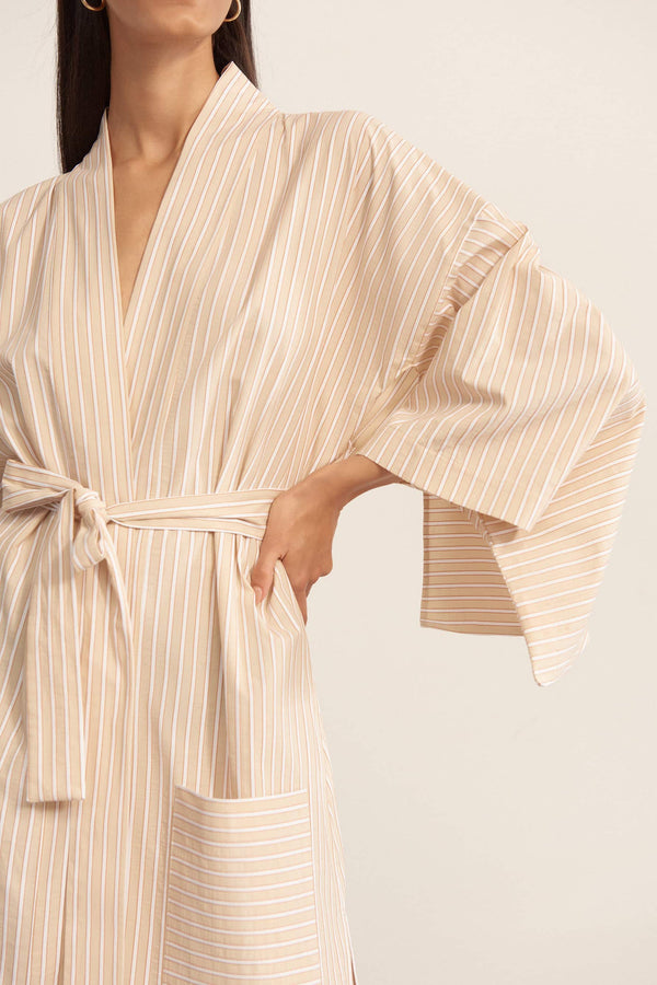 Else Hamptons cotton kimono robe in flax, clay and off white stripes, detail front view, on model