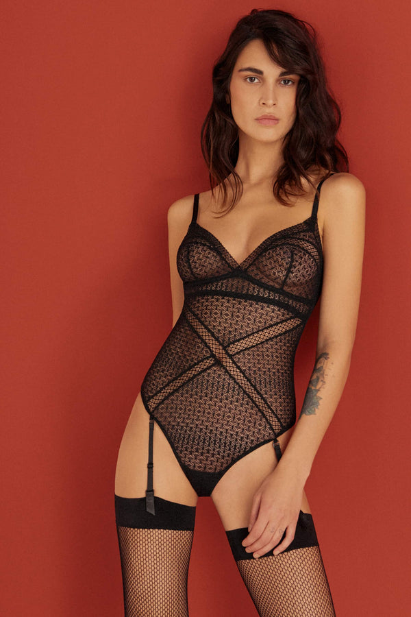 Else Harper black lace bodysuit with removable suspenders, front view, shown on model