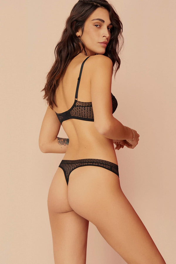 Else Harper black lace thong, back view, shown on model with the matching bralette