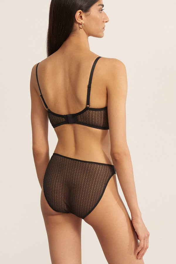 Else Honeycomb mid rise geometric lace brief in black, back view, on model