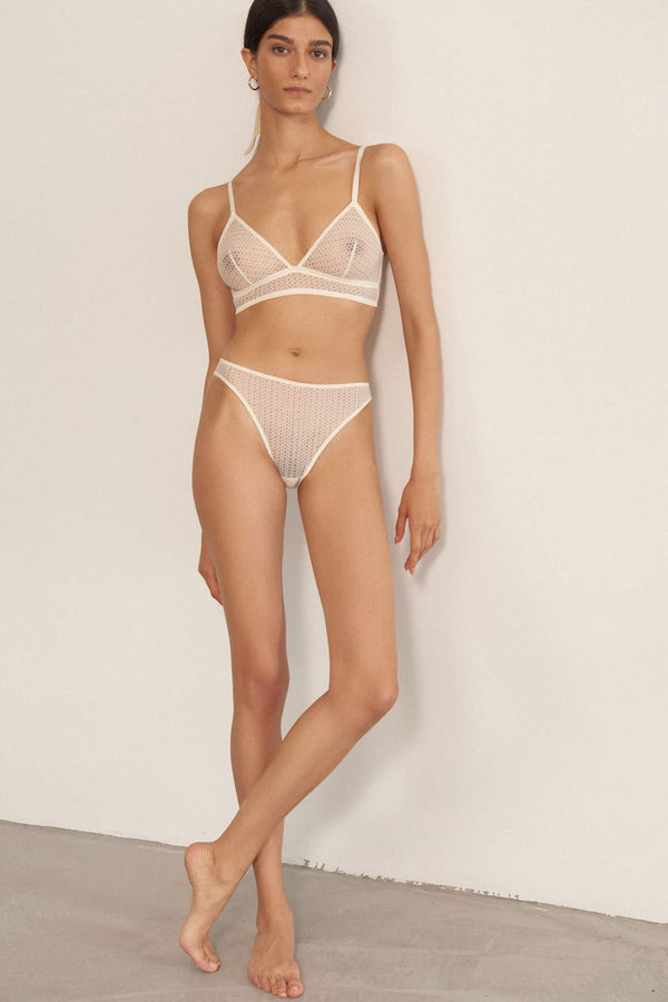 Else Honeycomb bralette and brief in off white mastic, front view, on model