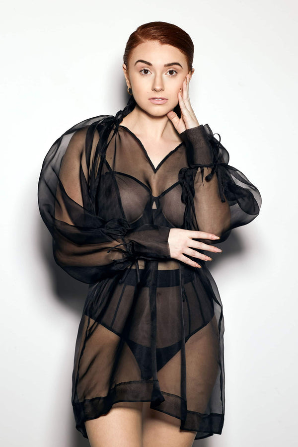 Else Honeycomb Silk Organza sheer black long top with ruffle collar and tie cuffs, front view, on model
