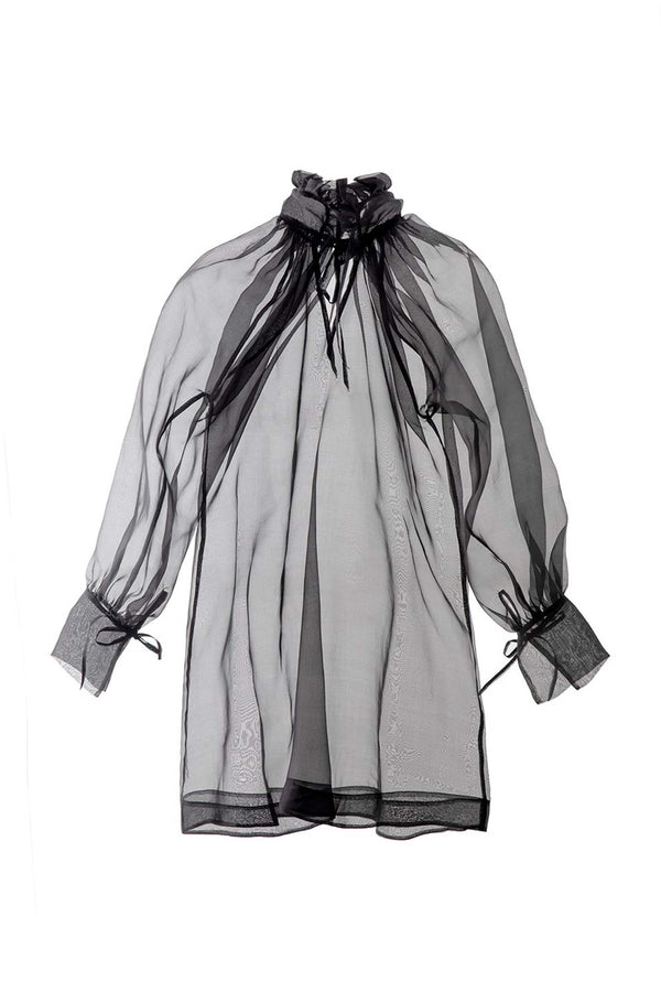 Else Honeycomb Silk Organza sheer black long top with ruffle collar and tie cuffs, front view, on plain white background