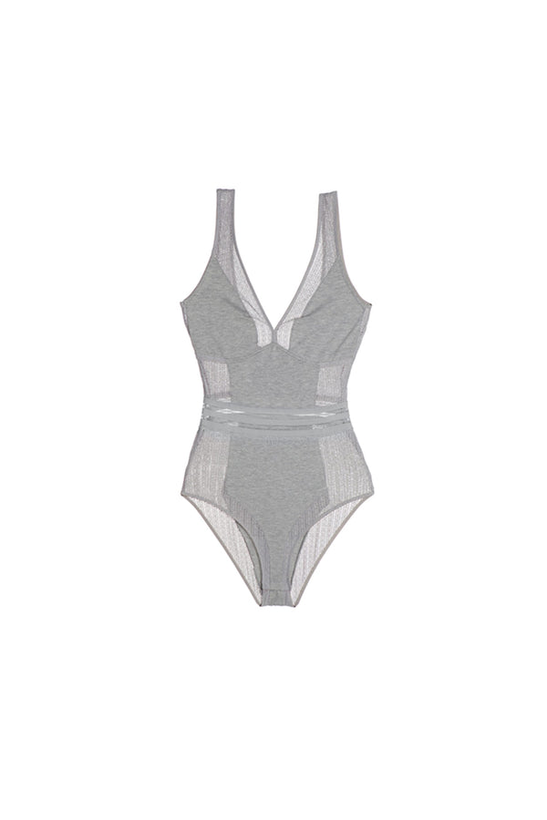 Else Jolie Cotton & Lace bodysuit in gray melange. Shown on plain white background.