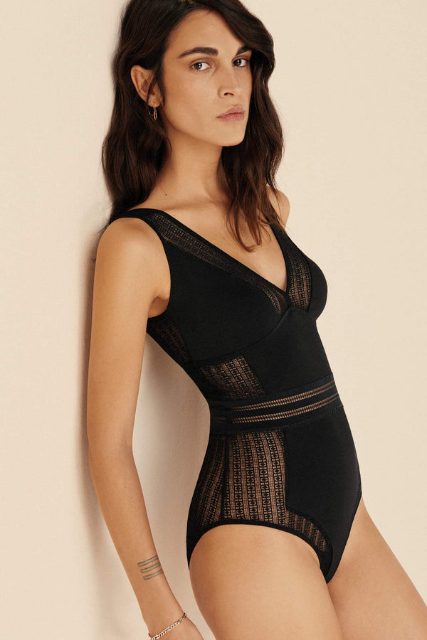 Jolie Soft Cup Triangle Bodysuit by Else, in black, front/side view, shown on model