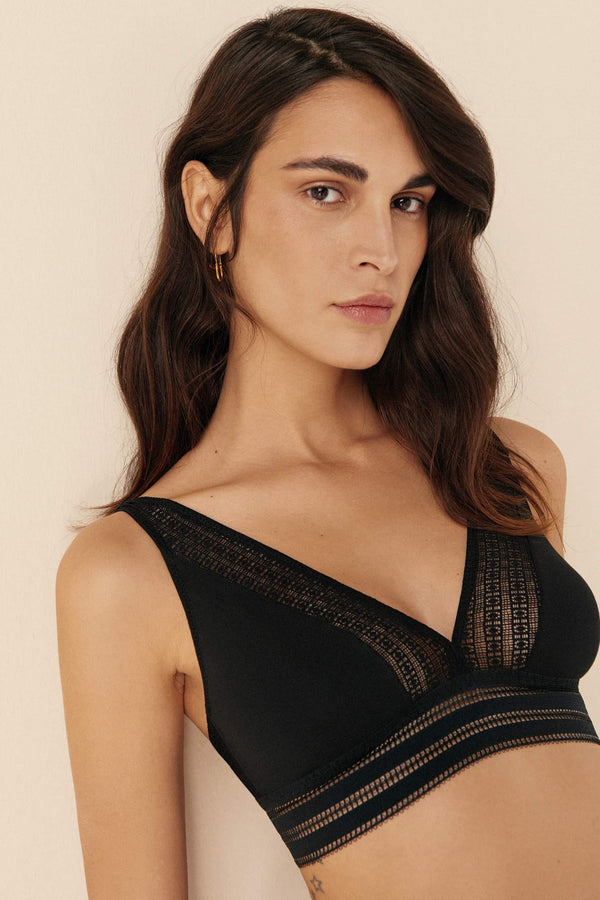 Else Jolie black cotton and lace soft cup bralette, front/side view, shown on model