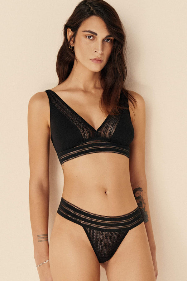 Else Jolie lace and cotton thong in black, front view, shown on model in matching bralette