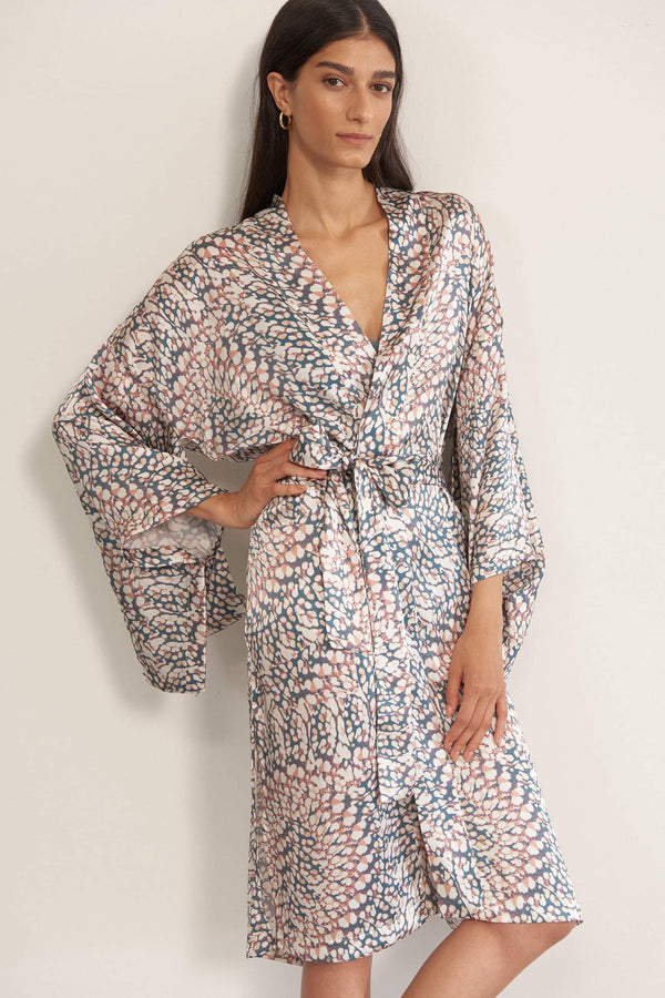 Else Marble silk kimono robe in green, pink, and white geometric print, front view, on model