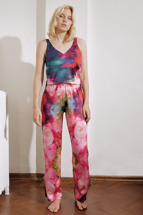 Else Maui silk crop top & long pants in abstract colorful print, on model, front view