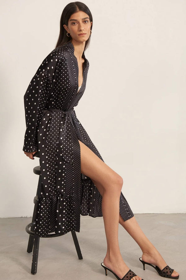 Else Polka Dot silk robe in black and white print with ruffled hem, side view, on model