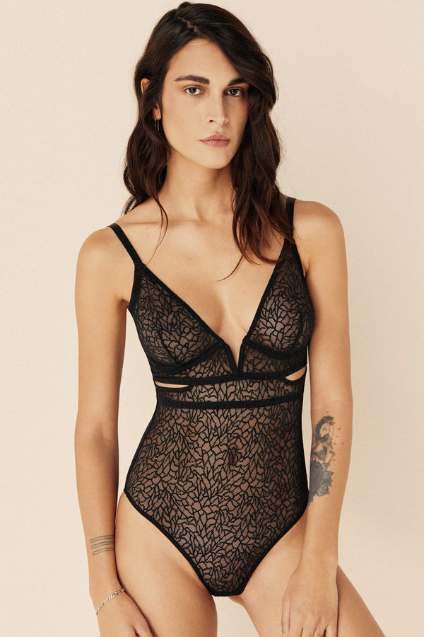 Zoe Soft V Cut Out Bodysuit by Else in black, shown on model, front view