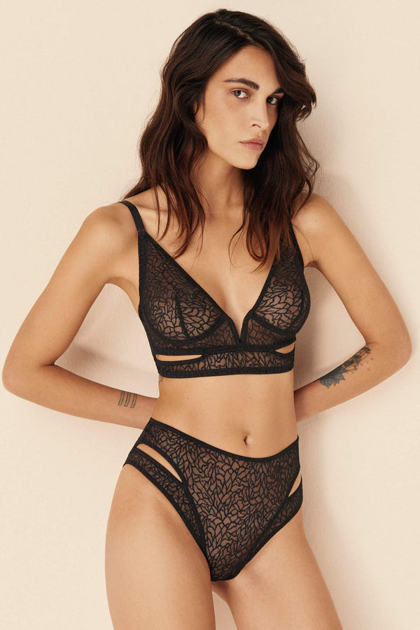 Else Zoe brief in black lace, front view, shown on model in matching bralette