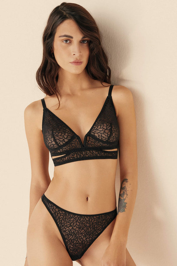 Else Zoe black lace thong, front view, shown on model in matching bralette