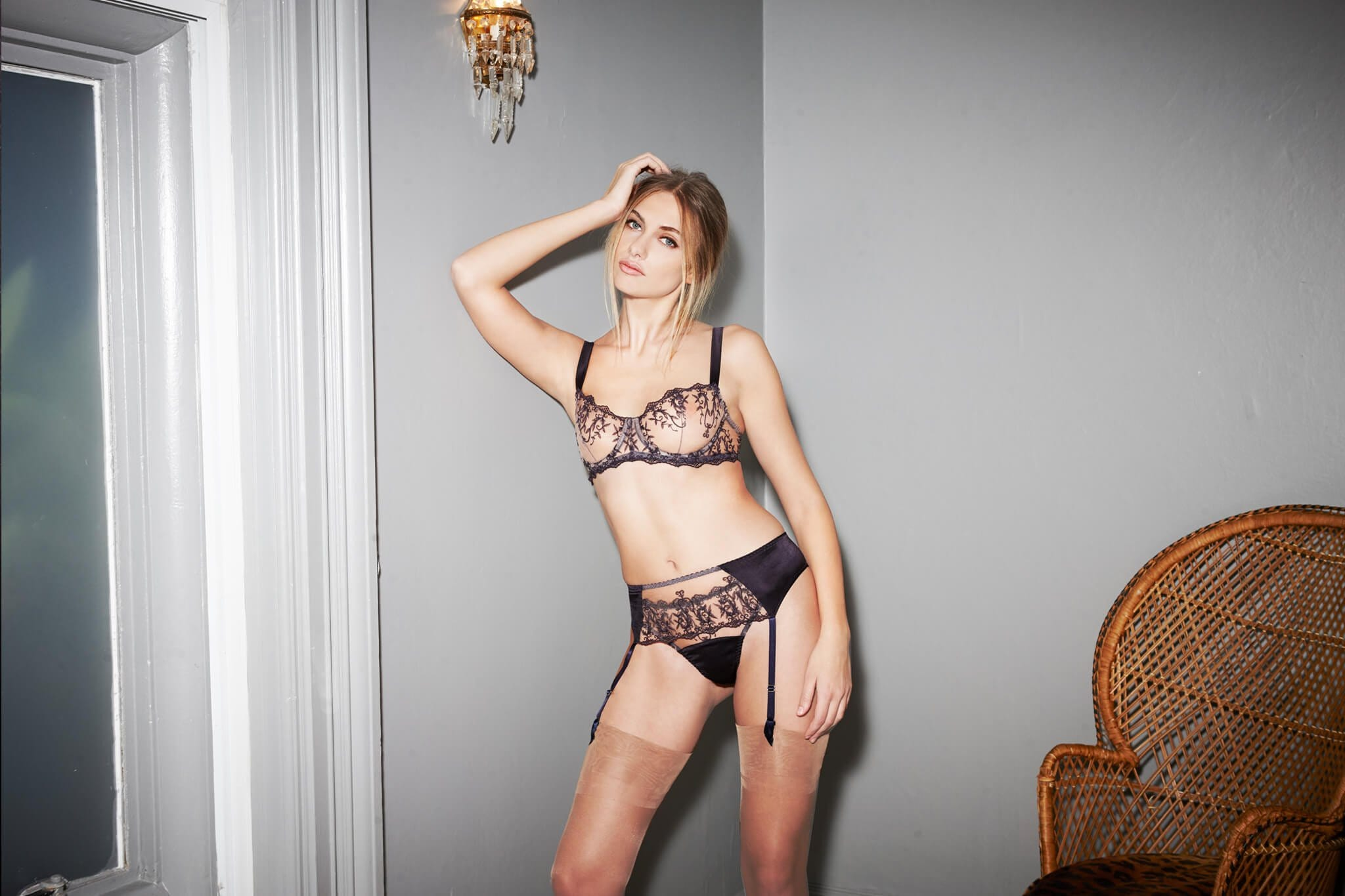 Muse Embroidered Sheer Balcony Bra from Luxury Lingerie Designer Fleur of England
