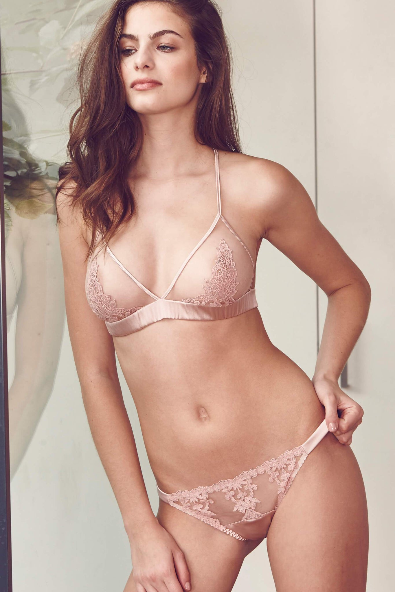 Mellow Rose Affection Pink Lace Overt Brief from Luxury Lingerie Designer Fleur of England