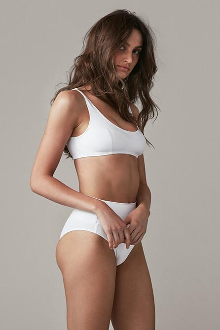 Foldover Swim Bottoms in White