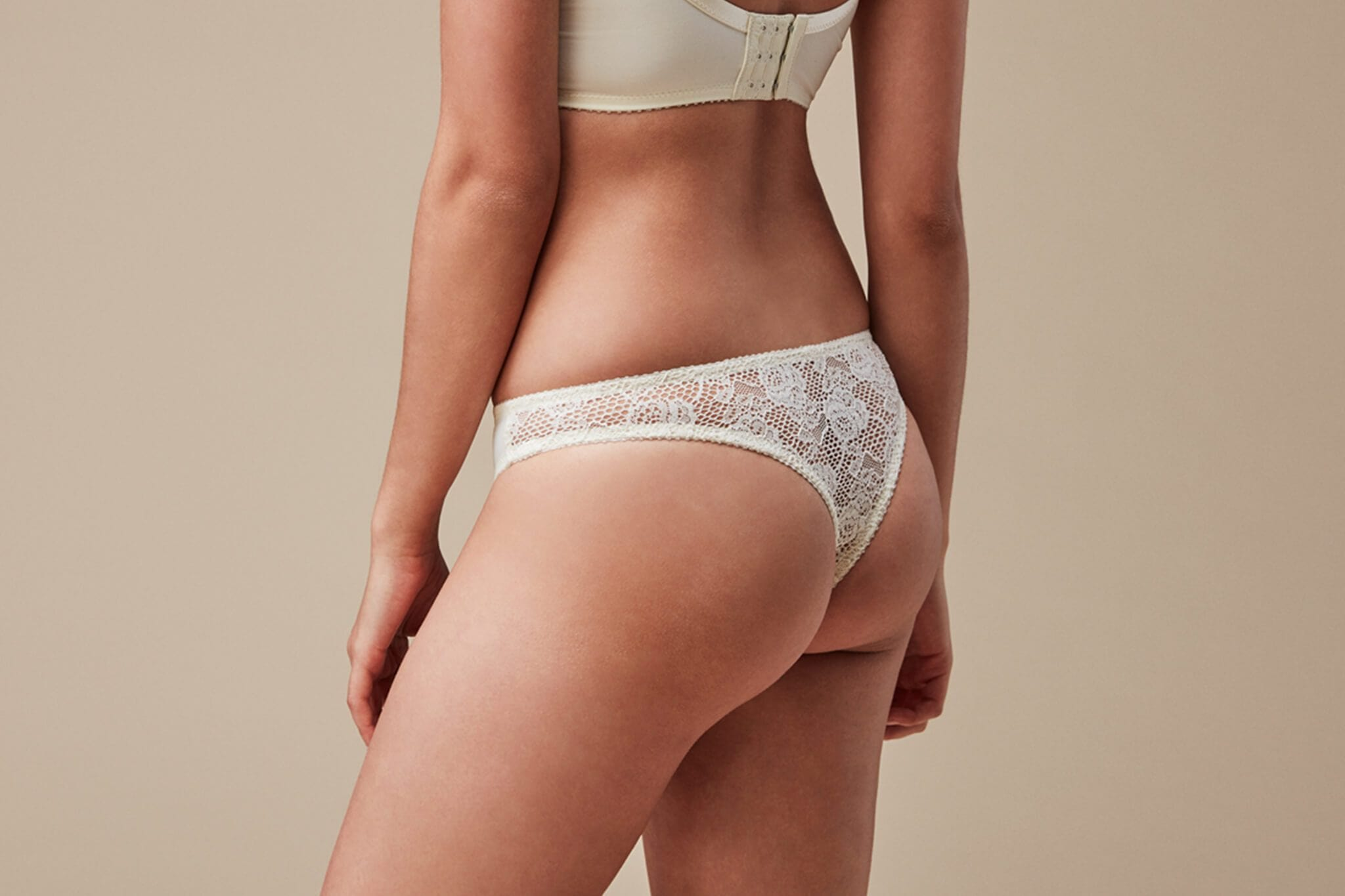 Mira Ivory Lace Thong from Fortnight
