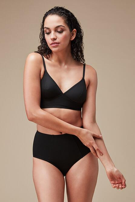 Longline swim top in black from Fortnight