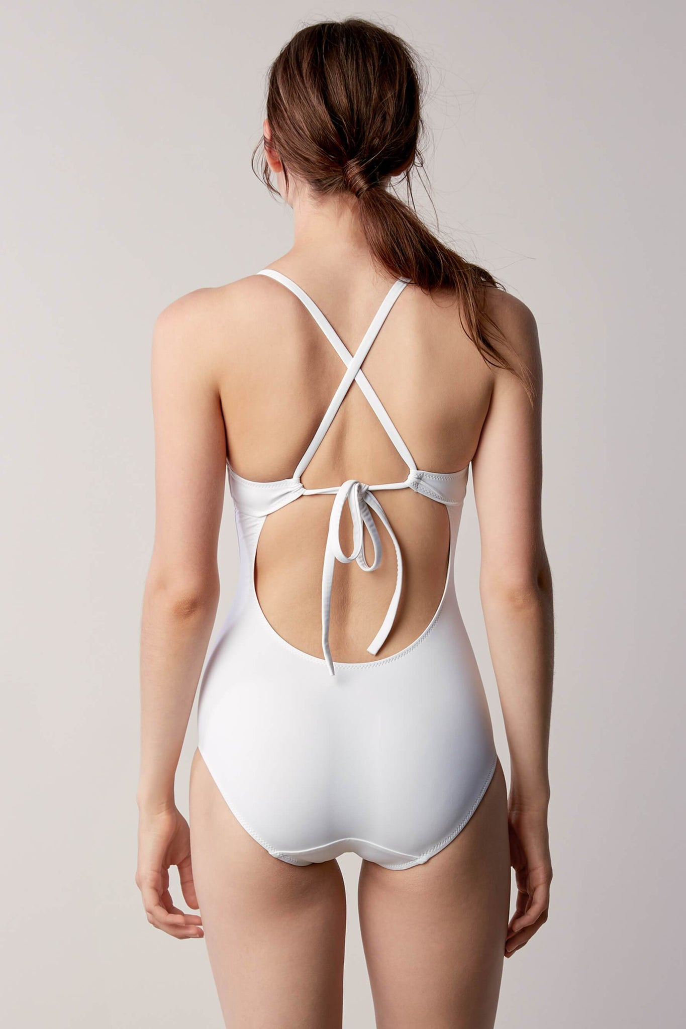 White One Piece Tie Back Swimsuit from Canadian designer Fortnight