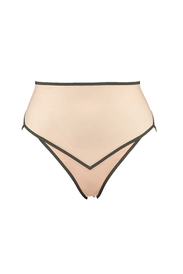 La Fille d'O All Talk high waist sheer tulle brief in light beige and khaki green, on plain white background, front view