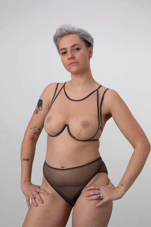 La Fille d'O Aloha High Neck Monowire underwire bra in sheer beige and khaki . Shown on model, front view.