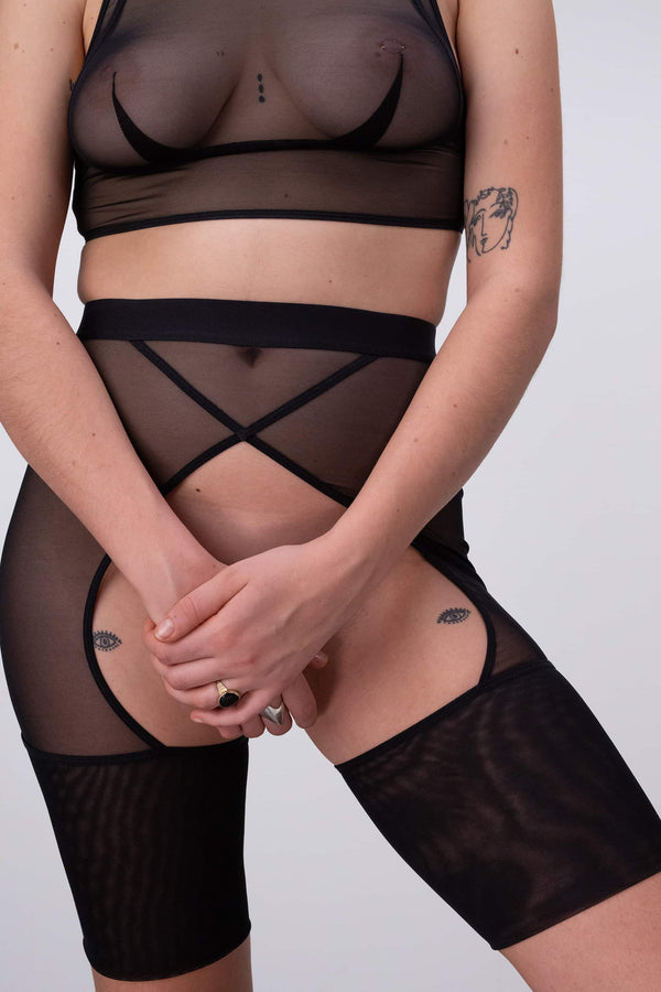 La Fille d'O Brightside ouvert high waist sheer mesh shorts in black, shown on model, front view