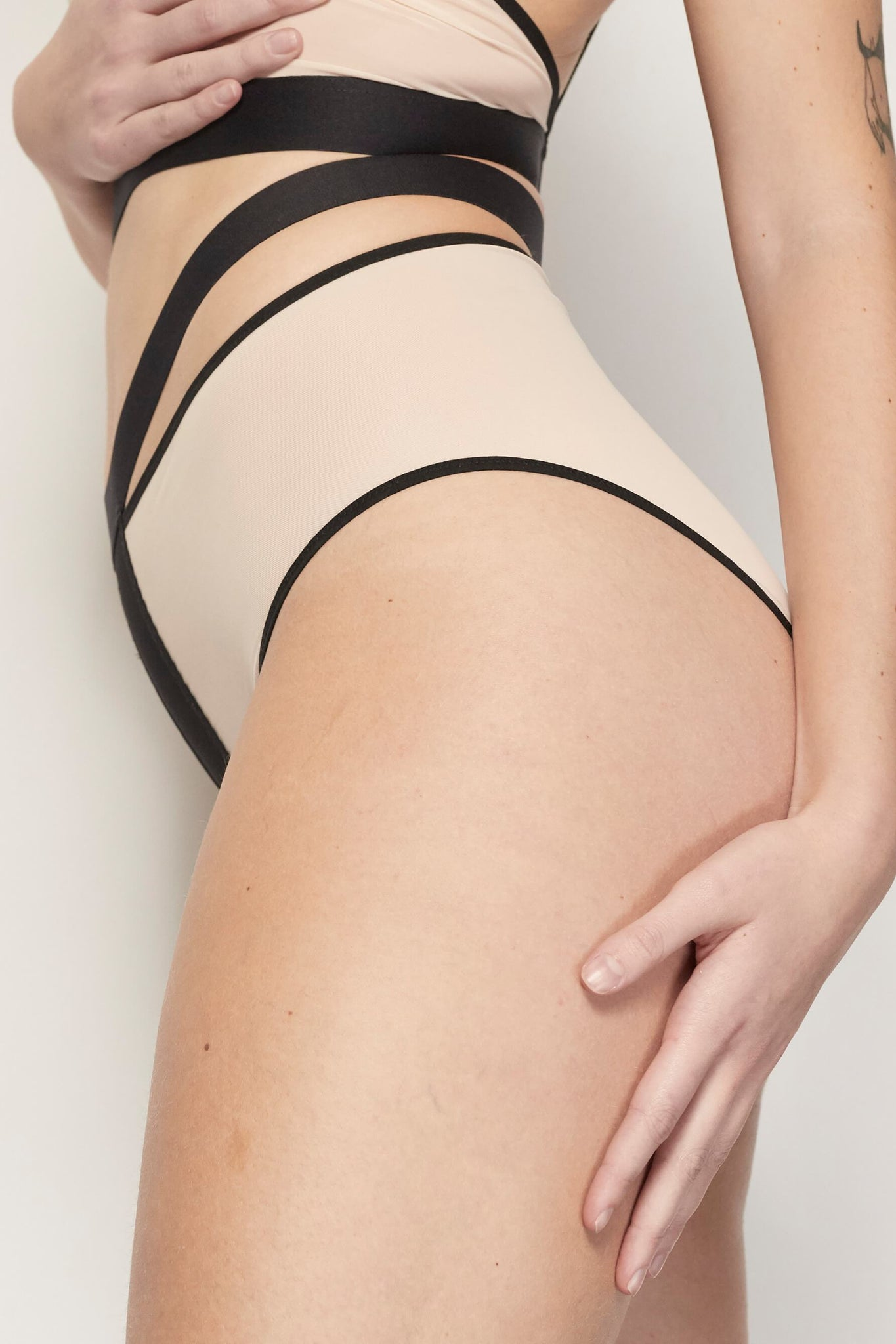 Cream with Black Eyes Off High Waist Brief with Split Waistband from La Fille d'O
