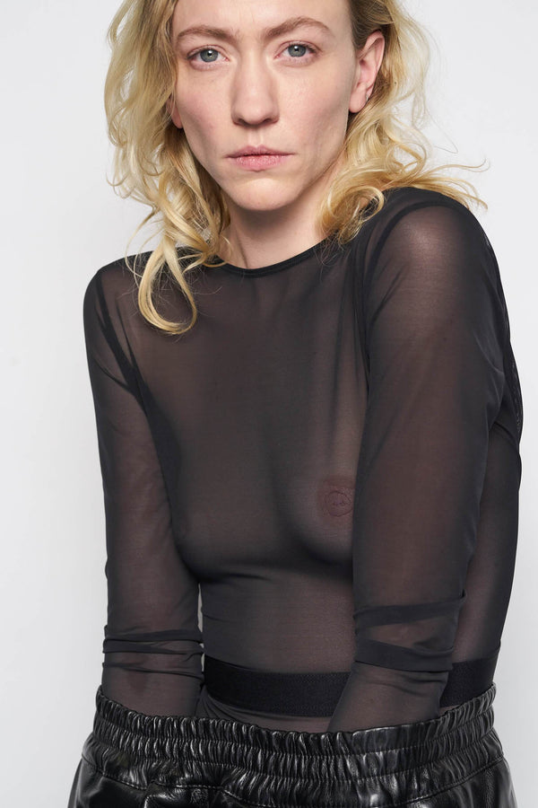 Black One Dance Sheer Long Sleeve Bodysuit from La Fille d'O