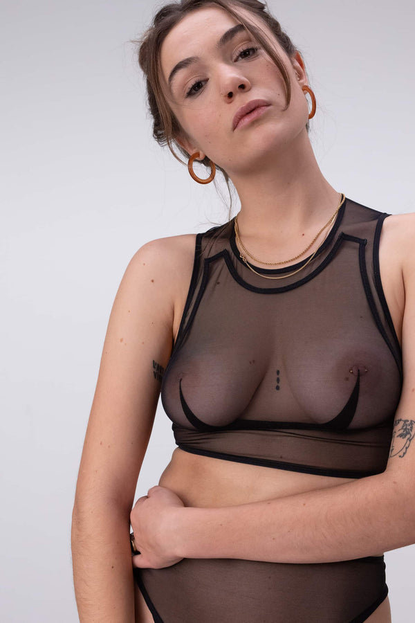 La Fille d'O Wonderwall sheer black crop top/wireless bralette, close up front view on model