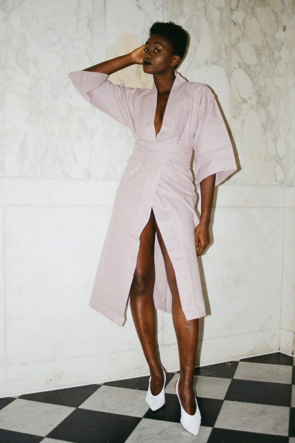 Lily Forbes lilac cotton robe, on model, front view