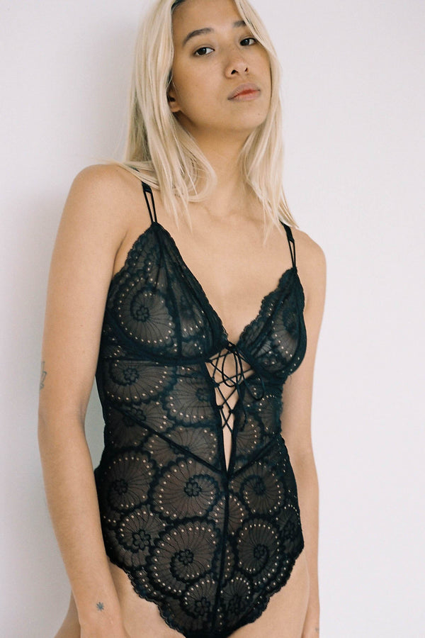 Lonely Delilah Black Lace Sheer Underwire Bodysuit