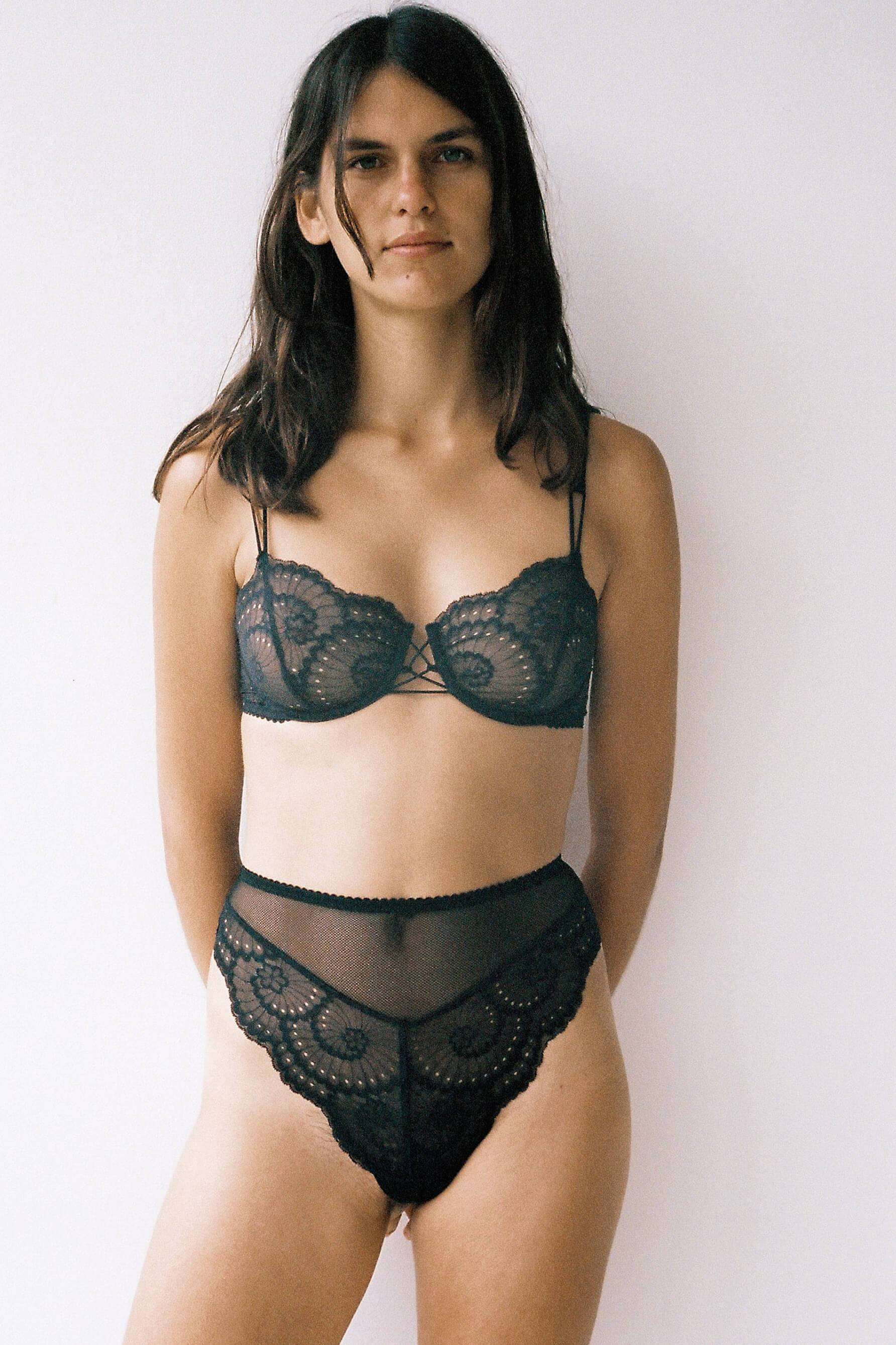 Lonely Delilah Underwire Bra in Sheer Black Lace