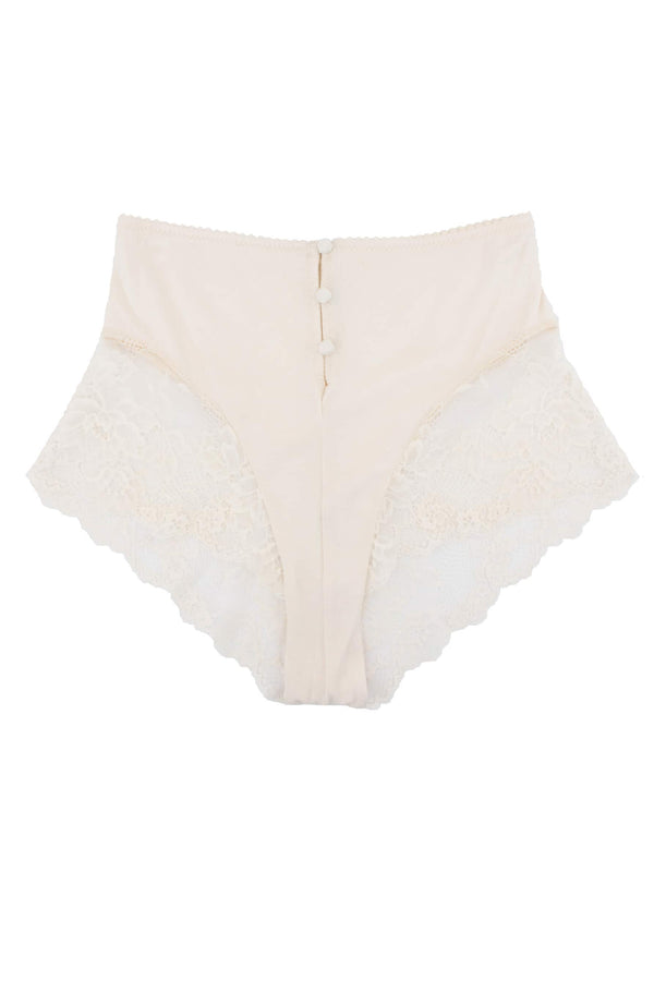 Lonely Hollie short/brief in bone colored bamboo and lace, front view, shown on plain white background