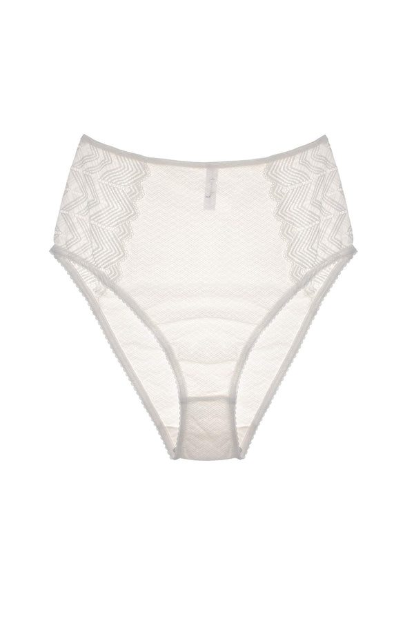 Lonely Misha High Waist Brief in sheer white lace, front view, on plain white background