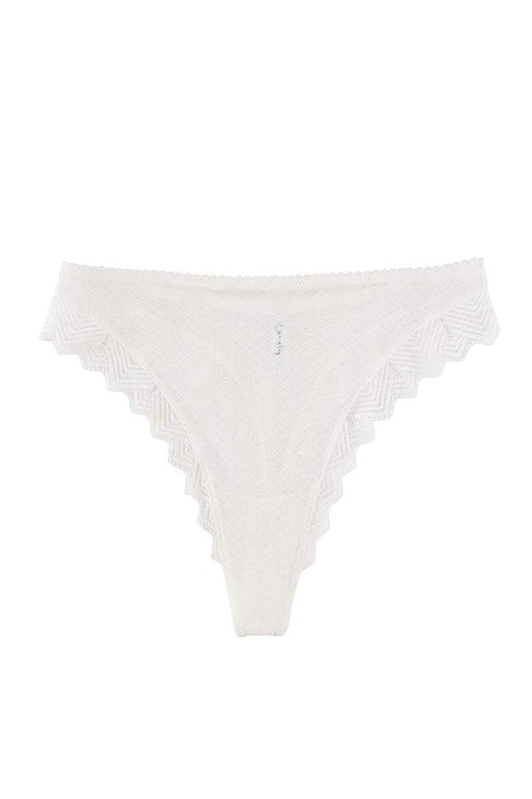 Lonely Misha High Waist Thong in sheer white lace, front view on plain white background