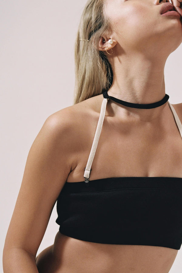 Marieyat Vanessa Black Cotton Bandeau Bra with Clip-on Choker