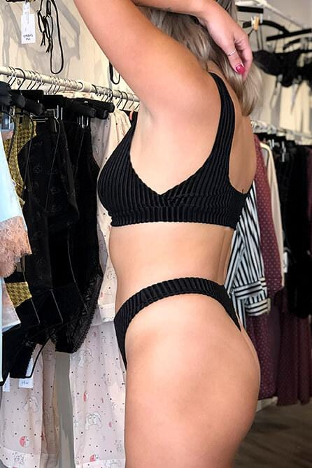 Black Velvet Rib High Waist Thong