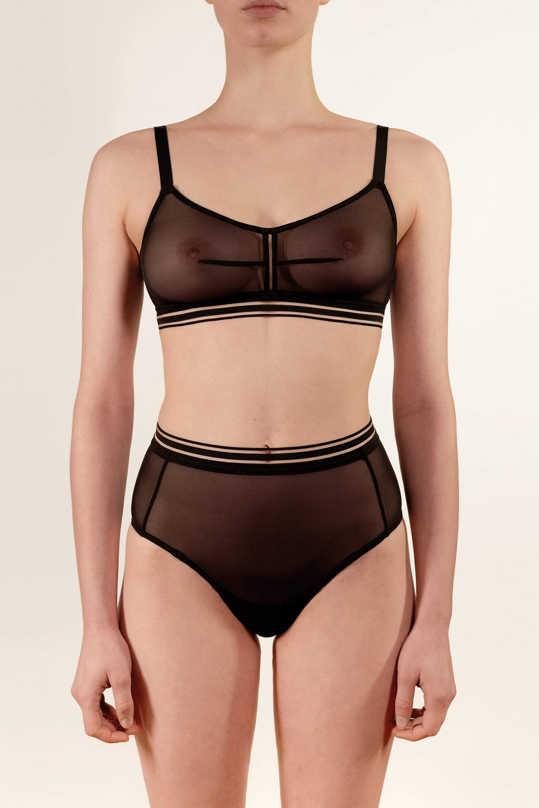 Opaak Paloma high waist brief in sheer black mesh, front view, on model